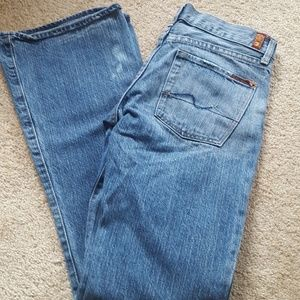7 For All Mankind Distressed Flare Leg Jeans 27